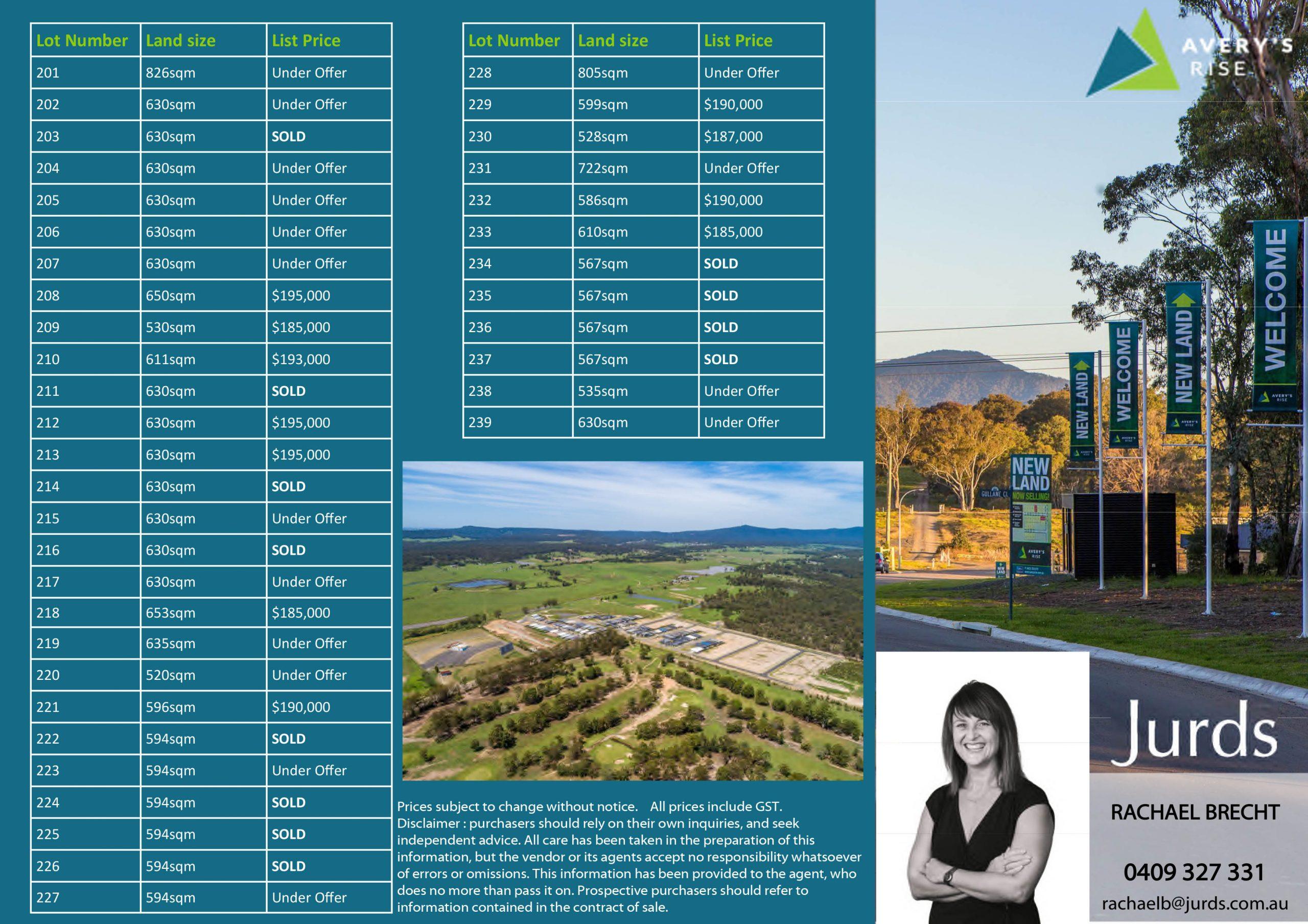 Averys Rise 2A Brochure & Price List.pub